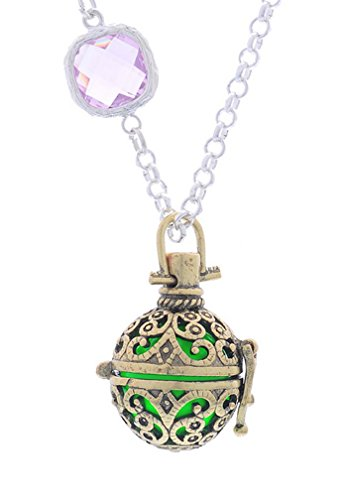 Rhinestone Filigree Cage Belly Ball Music Chime Baby Caller Bola Necklace Fluorescent Green - InnovatoDesign
