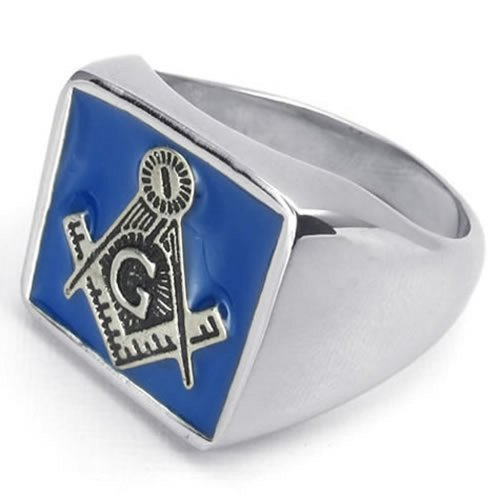 Stainless Steel Embossed Stamped Freemason Masonic Men Ring, Blue