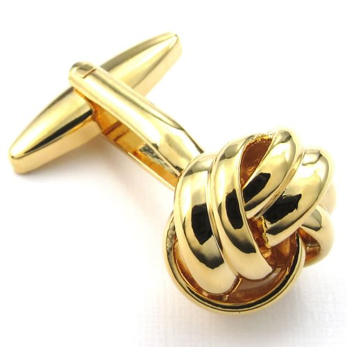 Men Love Knot 2pcs Shirts Cufflinks and 4pcs Studs Set, Color Gold