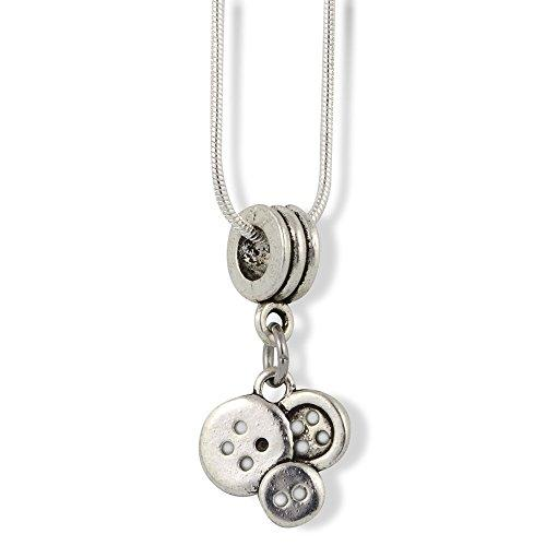 Fashion Sewing Buttons Charm Snake Chain Necklace