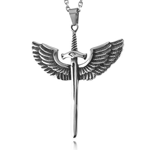 Men's Stainless Steel Pendant Necklace Silver Tone Black Angel Wing Dragon Sword Cross -With 23 Inch Chain - InnovatoDesign