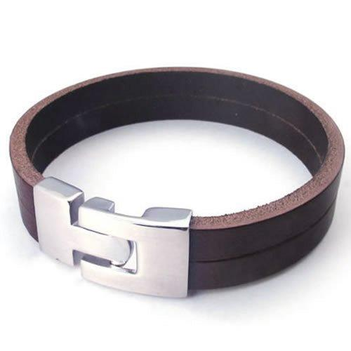 "Brown Leather Men Bracelet Stainless Steel Clasp, Brown Silver - 8"", 8.5"", 9"""
