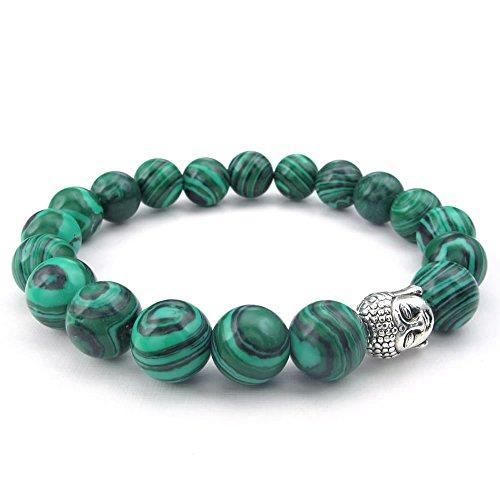 10-12mm Natural Energy Gemstone Malachite Men Women Bracelet, 10-12mm Buddha Mala, Green