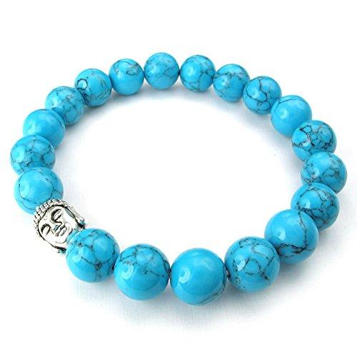 10-12mm Natural Energy Stone Beads Gemstone Men Women Bracelet, 10-12mm Buddha Mala, Blue