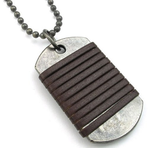 Men Dog Tag Pendant Leather Alloy Necklace Chain, Brown - InnovatoDesign