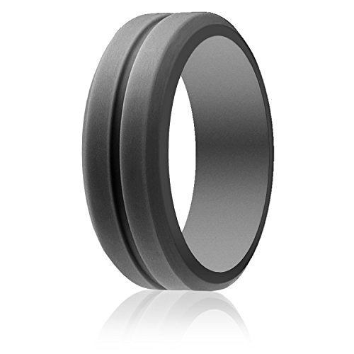 Silicone Wedding Ring For Men, Affordable 8 mm Silicone Rubber Wedding Bands, 4 Pack, Brushed Top Beveled Edges - InnovatoDesign