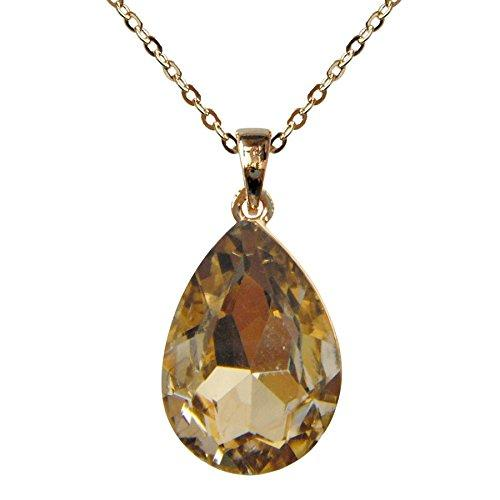 "18k Gold Plated Crystal Flower Leaves Brown Pear-shaped Zirconia Az6308p Pendant Necklace 16""+2"""