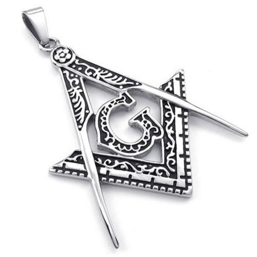 Men Freemason Masonic Stainless Steel Pendant Necklace, Silver, 24 inch Chain