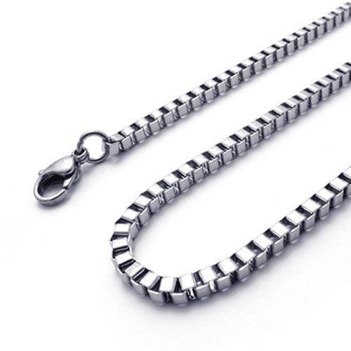 "2 mm Silver Stainless Steel Women Necklace Box Chain 14-40"" inch, 2mm"