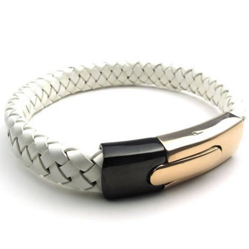 "Leather Men Cuff Bracelet Stainless Steel Clasp, Gold Black White - 8"" 8.5"" 9"" - InnovatoDesign"