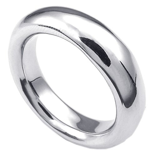 Men Stainless Steel Ring, Classic Polished Band - InnovatoDesign