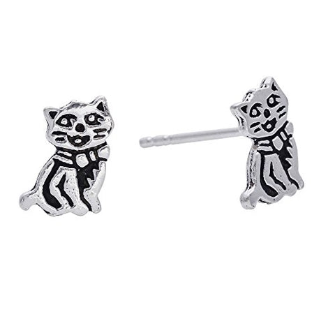 Sterling Silver Oxidized Cute Smiling Cat Studs Earrings