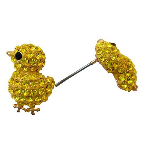 18k Gold Plated Chicken Yellow Crystal Enamel Az1011s Stud Earrings