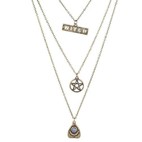 3 Piece Set Burnished Gold Wiccan Pentagram Layered Necklace