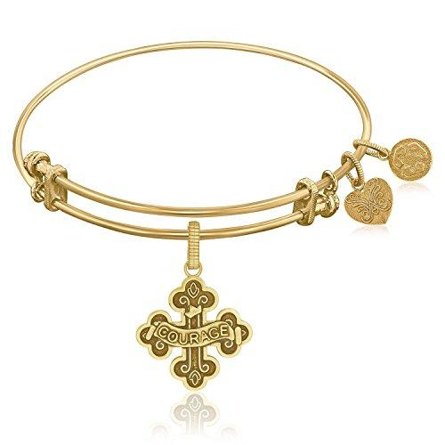 Expandable Bangle in Yellow Tone Brass with Badge Of Courage Symbol