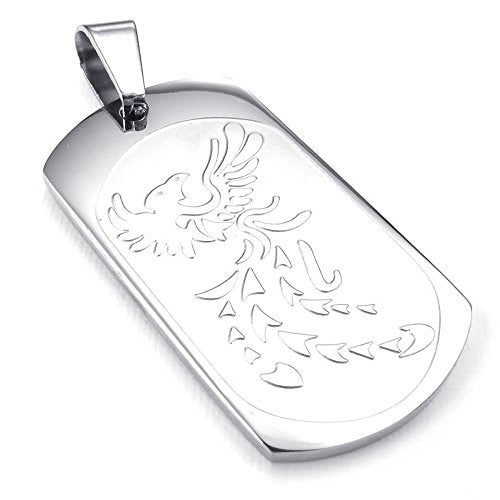 Men Women Phoenix Dog Tag Stainless Steel Pendant Necklace, Silver, 23 inch Chain - InnovatoDesign