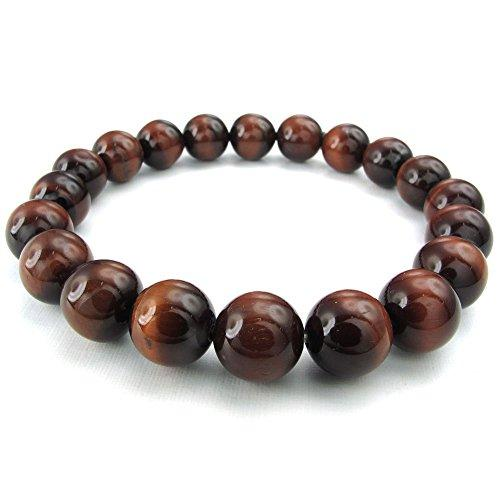 10-12mm Tiger Eye Men Women Bracelet, Natural Energy Stone Gemstone Beads, Black Red