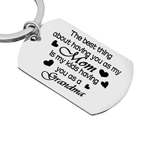 """The Best Thing about Having you as My Mom "" Stamped Tag Keychain Ring"