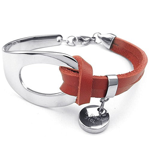 Women Leather Stainless Steel Bracelet, Classic Bangle, Red Silver - InnovatoDesign