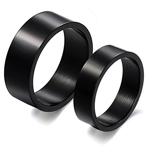 Men Women Classic Black Titanium Stainless Steel Couple Ring Wedding Engagement Promise High Polish Band - InnovatoDesign