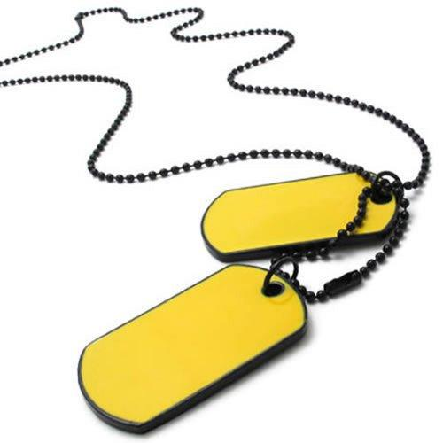 Army Style 2pcs Dog Tag Pendant Men Necklace Chain, Yellow