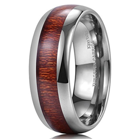 Silver Tungsten with Polished Koa Wood Comfort Fit Ring