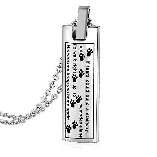Ashes Keepsake Bar Necklace Message Puppy Paw Pendant Charm Jewelry Urn Dog Cat