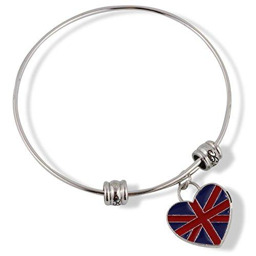 British Flag on a Heart Fancy Bangle