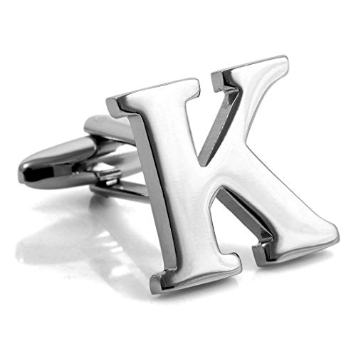 Men's Rhodium Plated Cufflinks Silver Tone Initial Letter Shirt Business Wedding - InnovatoDesign
