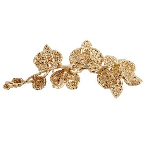 5 Inch Flower Orchid Clear Austrian Crystal Brooch Pendant
