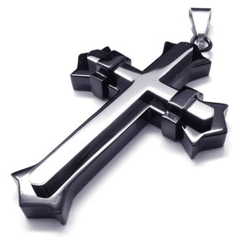 Stainless Steel Men Cross Necklace Pendant - Black & Silver, 24 inches Chain - InnovatoDesign
