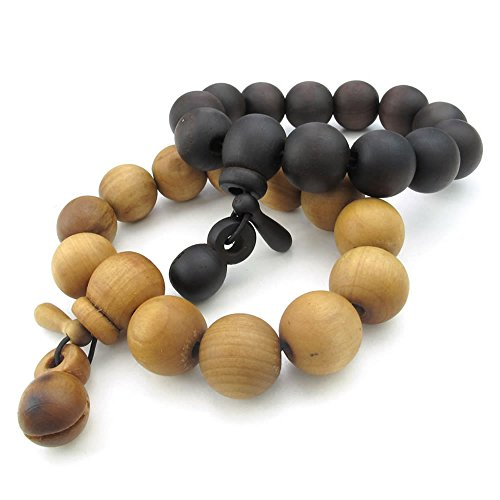 Men Women Wood Bracelet, 2pcs 17mm Tibetan Beads Buddhist Prayer Mala, Brown Black - InnovatoDesign