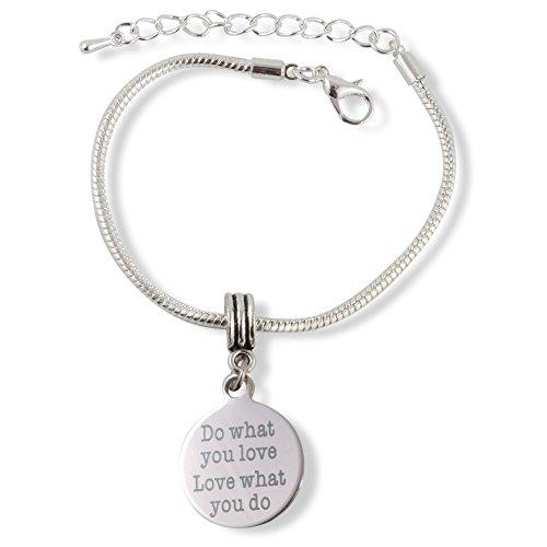 Do What You Love and Love What You Do Snake Chain Charm Bracelet