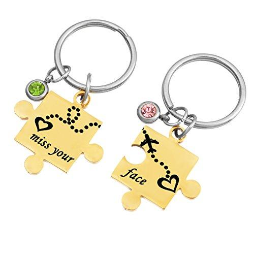Gold Color Rhinestone Miss Your Face Long Distance State Puzzle Key Chain Set