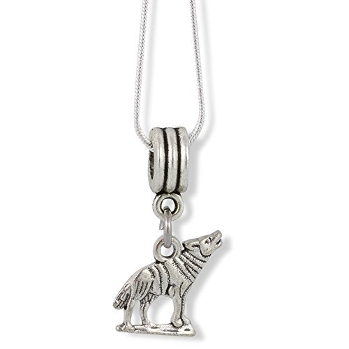 Howling Wolf ( 2D with 925 on back ) Charm Snake Chain Necklace