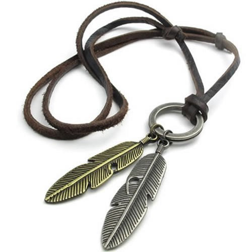 Vintage Angel Feather Pendant Leather Cord Men Necklace Chain, Gold Silver Brown