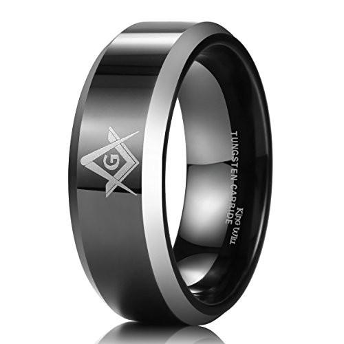 8mm Black Men's Tungsten Carbide Ring Polished Masonic Compass Square Free Mason