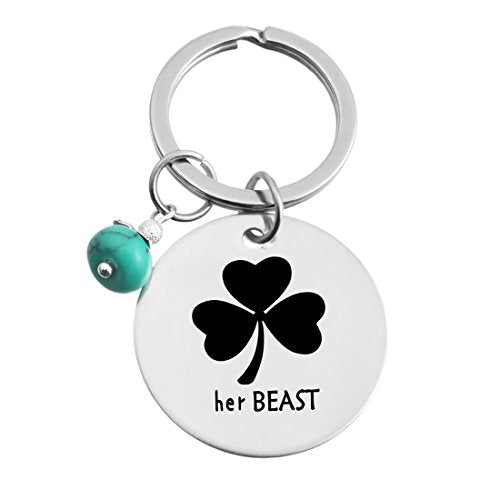His Beauty Her Beast Clover Stamped Keychain Ring Set - InnovatoDesign