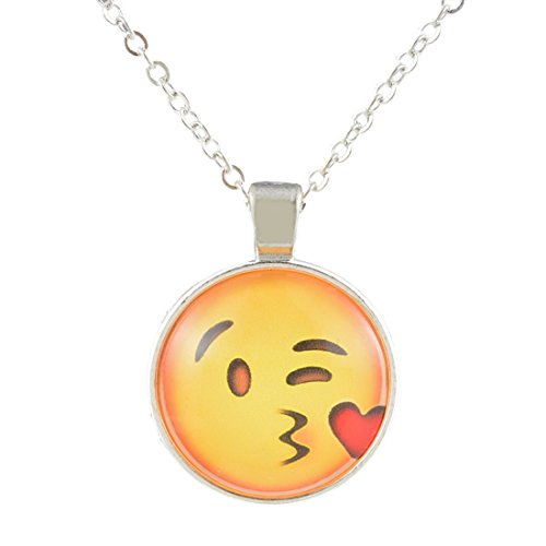 Women's Silver Color Yellow Flying Kisses Round Glass Dome Time Pendant Single Chain Necklace - InnovatoDesign