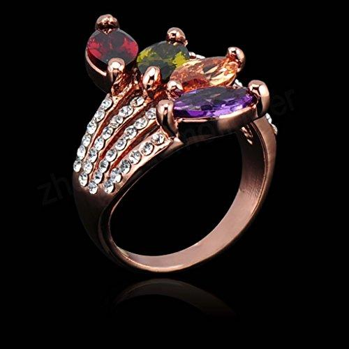 18k Gold Plated Multi-color Zirconia Crystal Az0221r Ring (Available in Sizes 5.5 7 8 9 10 11.5)