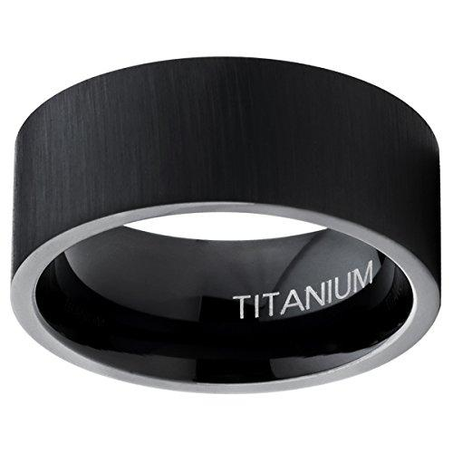 9MM Black Titanium Men's Flat Top Brushed Wedding Band Engagement Ring, Comfort Fit