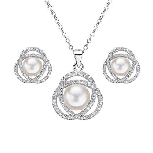 925 Sterling Silver CZ Freshwater Cultured Pearl Elegant Pendant Necklace Earrings Set Clear