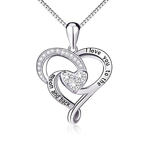Sterling Silver Jewelry Carved Love Heart Pendant Necklace