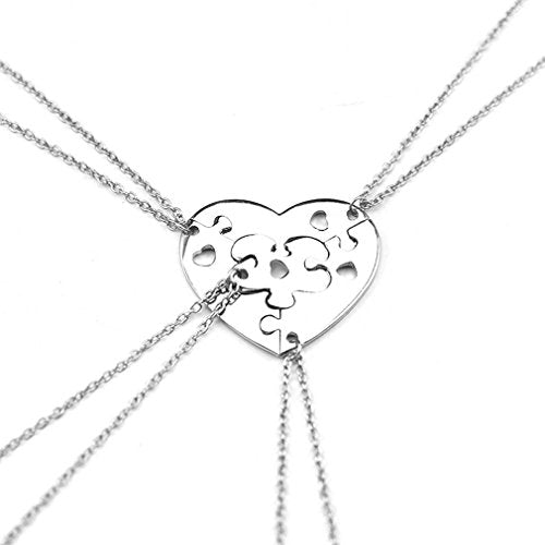 Silver Color Split Puzzle Heart Pendant BFF Friendship Necklace Set of 4 - InnovatoDesign