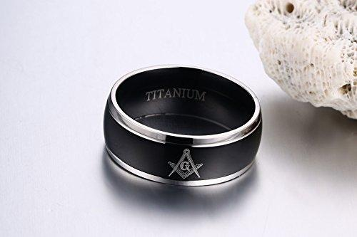 8MM Titanium 2 Tone Black Plated Domed Masonic Ring Bands for Freemason