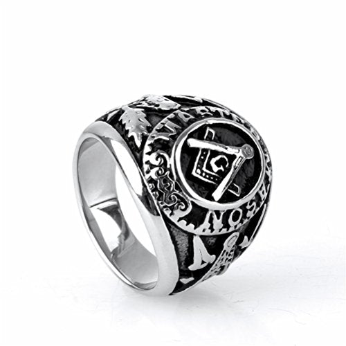 Jewelry Mens Stainless Steel Domineering Vintage Freemason Masonic Rings, Black and Silver