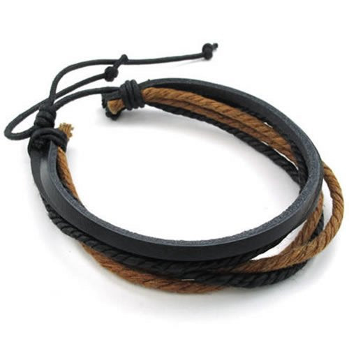 Men Women Leather Rope Bracelet, Surfer Surf, Wrap, 7-9 inch, Black Brown - InnovatoDesign
