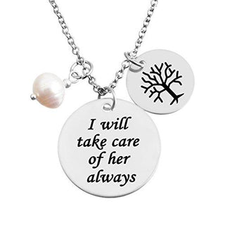 """I will take care of her always"" with Family Tree Charms Pendant Necklace"