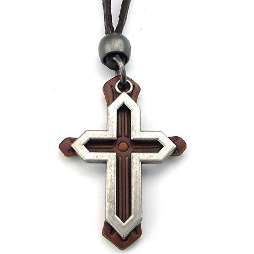 Men Women Vintage Cross Pendant Adjustable Leather Necklace Chain, Silver Brown - InnovatoDesign