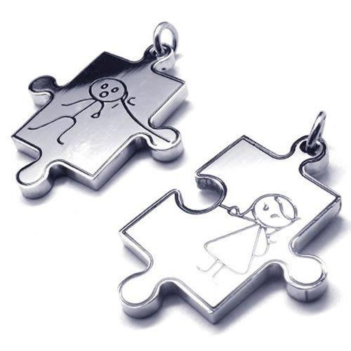 2pcs Men Women Couples Puzzle Stainless Steel Pendant Love Necklace, 18 & 22 inch Chain, Silver